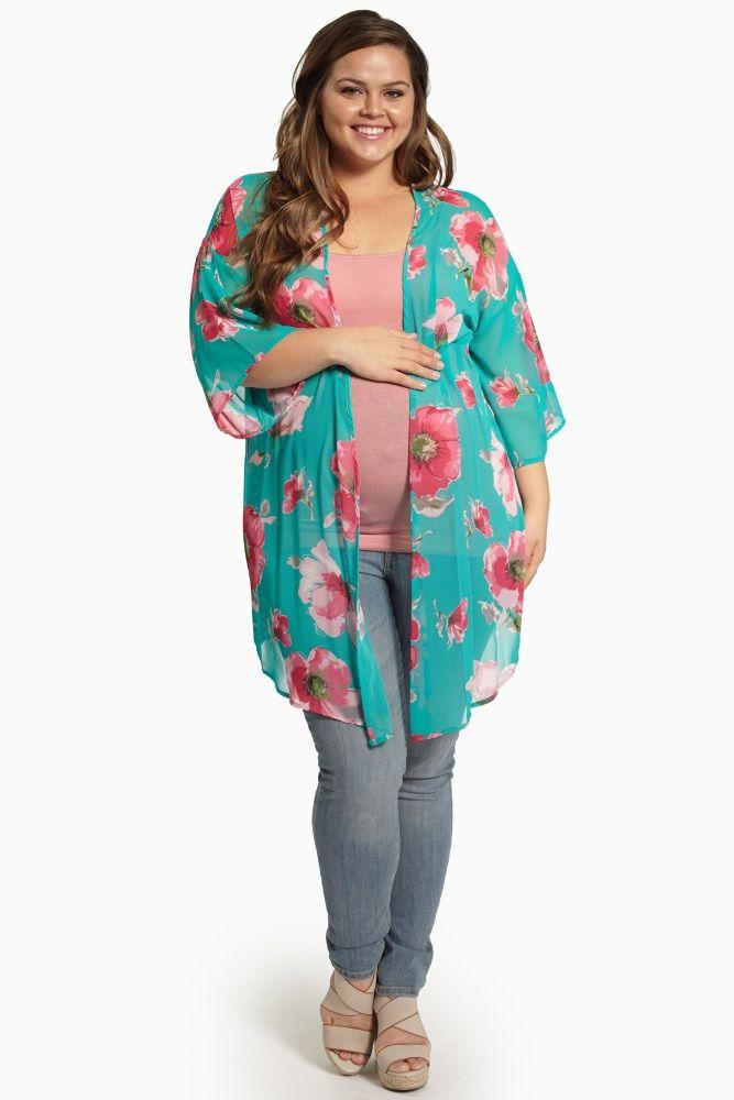 Jade Floral Print Chiffon Plus Size Maternity Kimono