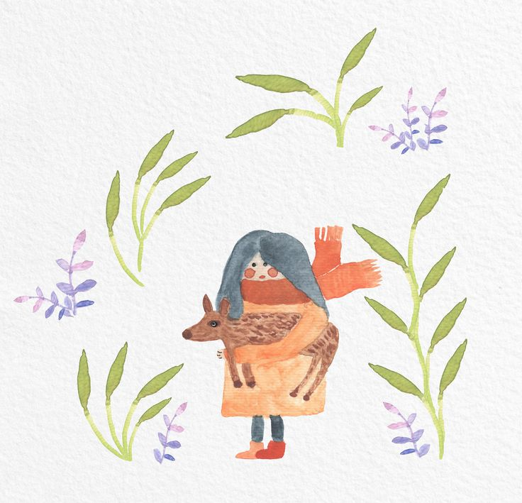 Jelena Matriszenka #watercolor #watercolorillustration #illustration #watercolorart #art #akwarele #creature #cute #girl #animal #artforkids #illustrationforkids #kids #floral #nature