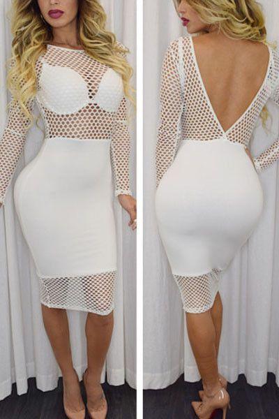 White Fishnet Design Long Sleeve Club Dress