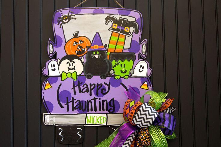 Halloween Truck Door Hanger Christmas Door Hanger Halloween Door Hangers Wooden Door Hangers