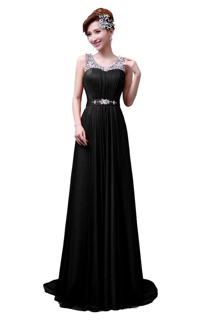 DLFASHION Scoop Neck Sweep Train Beaded Chiffon Prom Dress XS-0 Black