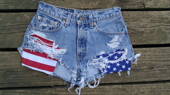 Custom Made American Flag Shorts. $50.00, via Etsy.  Not crazy about the fraying, but love the pockets