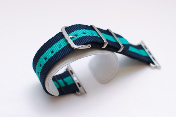 Apple Watch Replacement Band Strap for 42mm Apple Watch Silver/Stainless Steel - Navy Blue/Turquoise Green stripe Nylon by MadeByKong on Etsy https://www.etsy.com/listing/239960555/apple-watch-replacement-band-strap-for