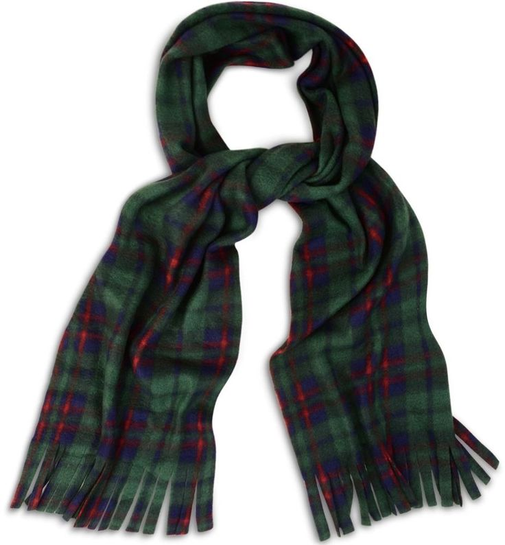 Super Soft, Cosy and Warm Green Tartan Check Fleece Scarf Scarves with Tassles   eBay