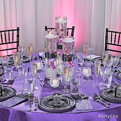 Purple is elegant: Tables Sets, Ideas Parties, Receptions Ideas, Wedding Reception, Parties Cities, Parties Decor Ideas, Tables Decor, Purple Parties, Engagement Parties Decor