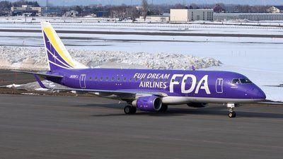 Fuji Dream Airlines-FDA (JP) Embraer ERJ 175 JA06FJ aircraft, skating at Japan Sapporo  Okadama Airport. 27/03/2017. (The Purple colored plane).