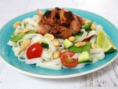BBQ Chicken Skewers and Rice Noodle Salad recipe