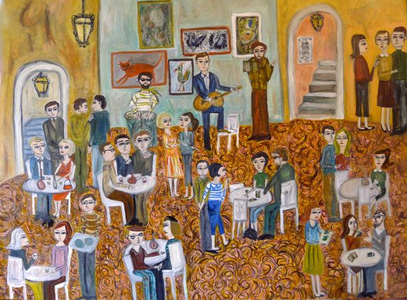 The young bohemians.  Limited edition print of an riginal oil painting by Vivienne Strauss.