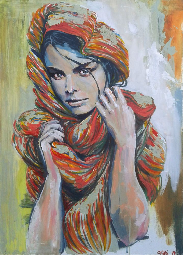 #girl #scarf #autumn Acrylic painting 50x70cm by Olli Kilpi https://www.facebook.com/olli.kilpi.illustration