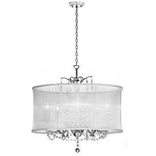 @Overstock.com - White Silk Drum Shade 6-light Crystal Chandelier - Two distinctive styles combine to form this stunning six-light crystal chandelier. This striking fixture drips strands of sheer sparkle, which are further enhanced by the elegant organza-silk drum shade. It blends into any room with ease.  http://www.overstock.com/Home-Garden/White-Silk-Drum-Shade-6-light-Crystal-Chandelier/8134122/product.html?CID=214117 $420.53