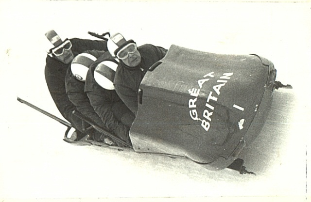 And this is the big bad boy of the bob sledding world....the Four Man. Boz Robinson on the ropes, then I think Ken Evans and Mike Penton Voak in the middle with heads down and finally himself,