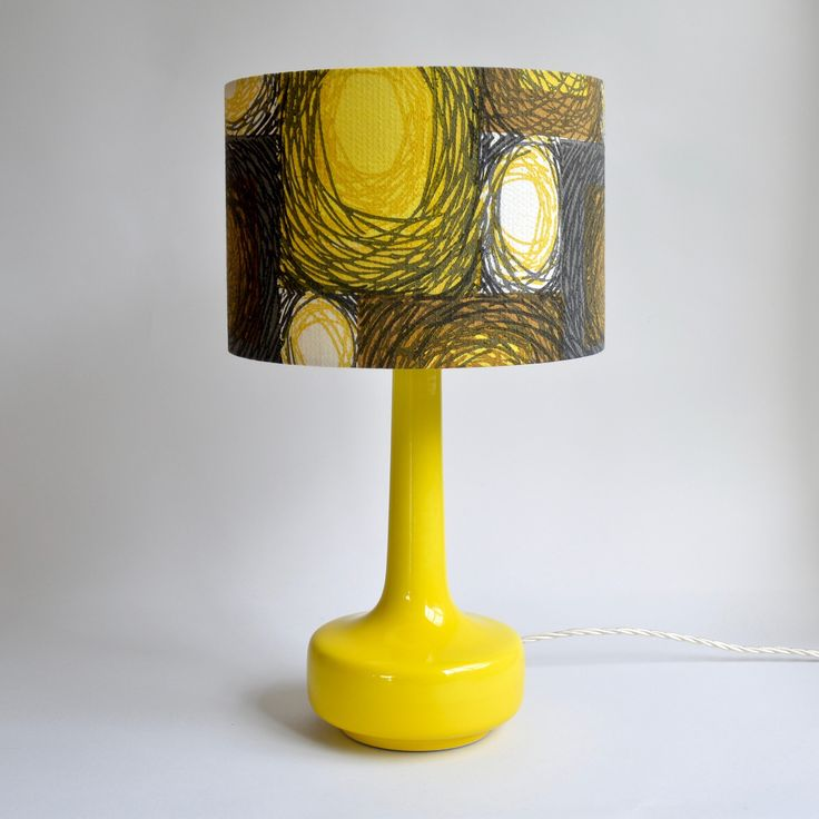 Wonderful Bell Bottom Yellow Table Lamp With Vintage Circles Shade