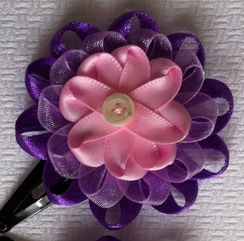 Fermaglio per capelli viola e rosa - coppia