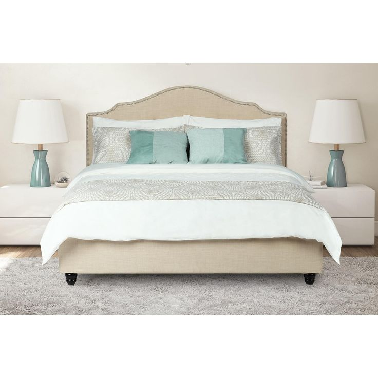 avenue greene dhp averna beige linen upholstered king bed with nailhead detail king bed