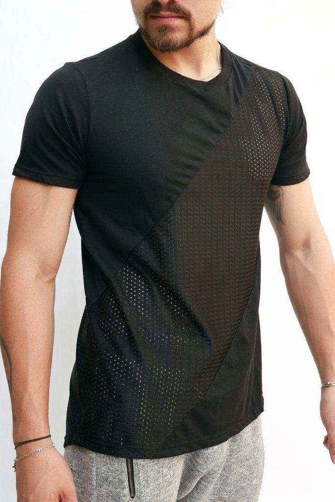 Camisetas Para Hombre - Camiseta Franja En Malla – urbanwearco