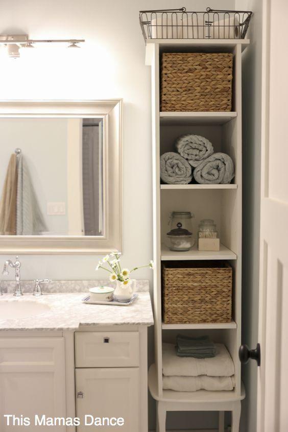 Las 25 mejores ideas sobre peque o almacenamiento de ba o for Repisas en espacios pequenos