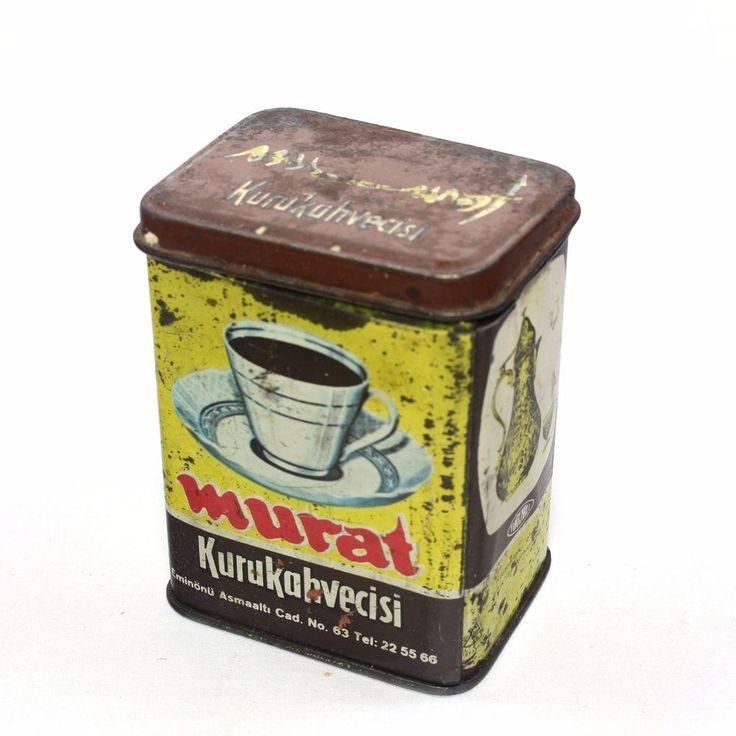 Antique Turkish Coffee Tin Box. Turkish Made - Turkish Coffee Tin Box. Vintage
