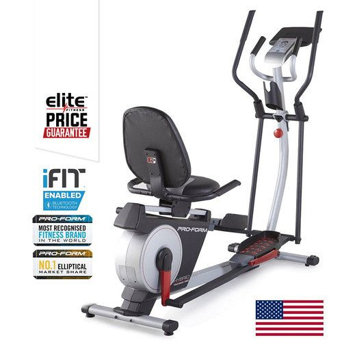 "PROFORM HYBRID TRAINER PRO CROSSTRAINER BIKE    2 Machines in 1: Elliptical & Recumbent Bike    NEW! Latest 2016 Technology: iFit Bluetooth Smart Enabled    17"" (43cm) Stride    Integrated Tablet Holder"