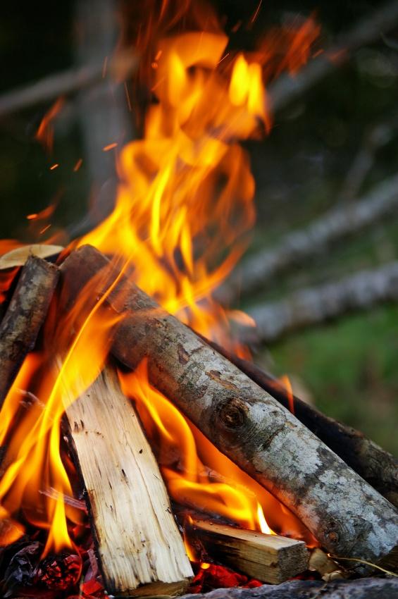 Betoverende vlammen van het kampvuur.