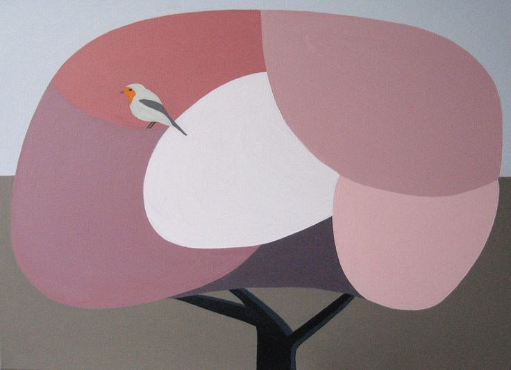 Robin in the blossom tree. Oil on canvas. Artist Chris Martin. chrismartin.co.nz