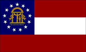 """Georgia's State Flag (Entered the Union on December 14, 1819, 22nd state) ~ Origin of Name: In honor of George II of England ~ State Motto: Wisdom, justice and moderation ~ State Song: """"Georgia on My Mind"""" ~ National Forest: 2; National Parks: 3; State Forest: 6; State Parks: 63 ~ Famous for: Stone Mountain Park, Centennial Olympic Park, Blue Ridge Scenic Railway and Eternal World Television Network"""