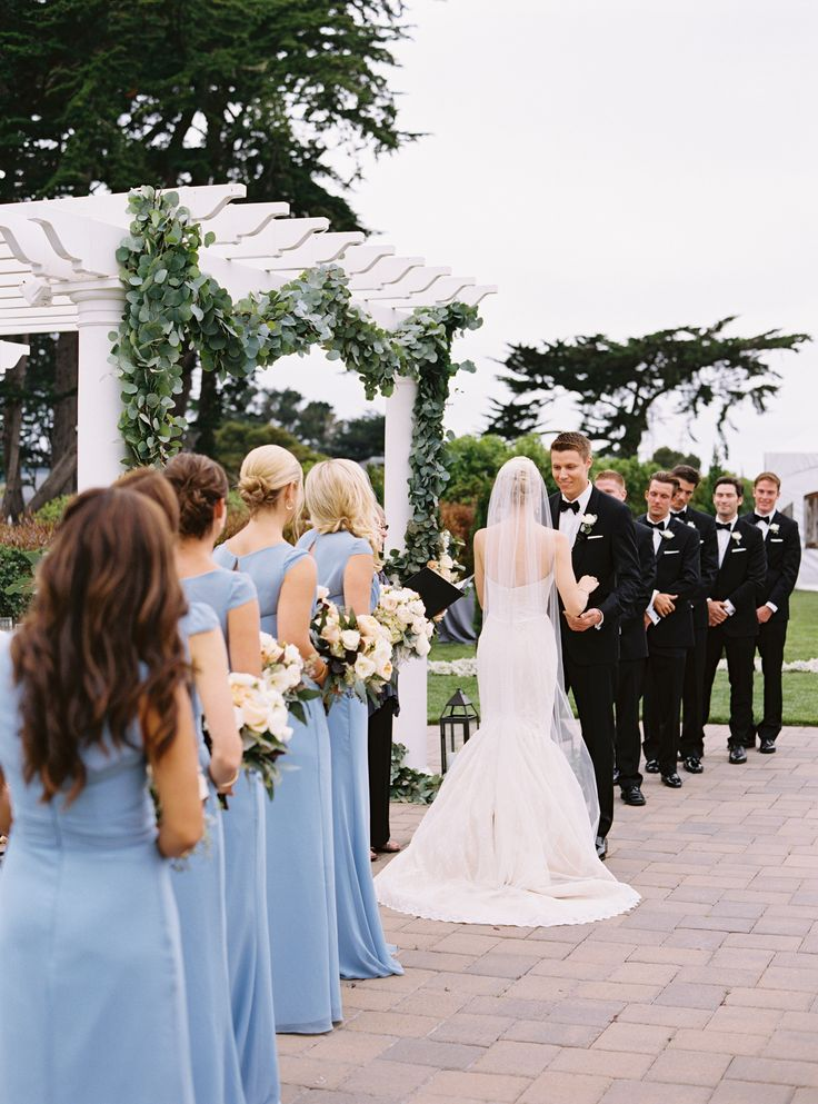 Photography : Jessica Burke | Wedding Dress : Amy Kuschel | Bridesmaids Dresses : Jim Hjelm | Wedding Planner : A Savvy Event, Jill Hinchman Hartnett Read More on SMP: http://www.stylemepretty.com/2015/02/19/elegant-coastal-wedding-at-half-moon-bay/