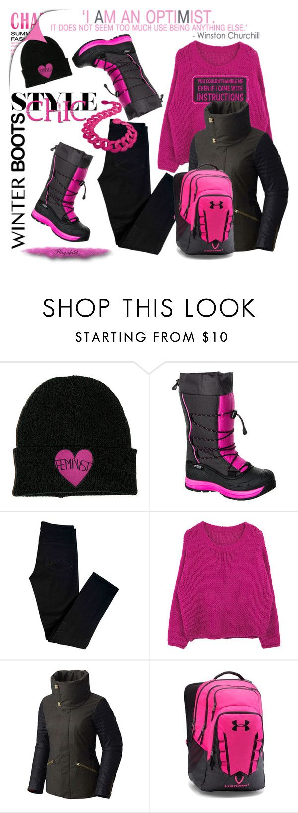 """""""So Cozy: Winter Boots,Pink & Black"""" by ragnh-mjos ❤ liked on Polyvore featuring Baffin, J Brand, SOREL and Under Armour"""