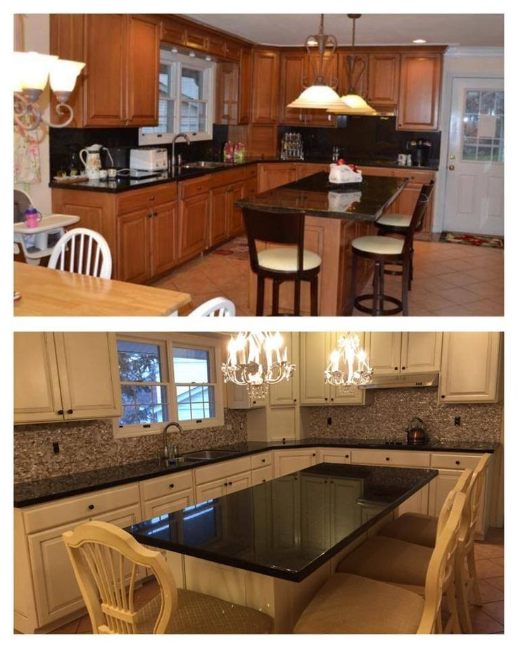 Before and after! Antique White kitchen cabinets that we painted with double glazing, done by ...
