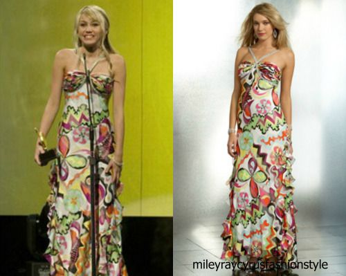 """Hannah Montana season 2 episode 20 """"I Will Always Loathe You"""" Mary L. Couture Bold Print Halter Gown - sold out"""