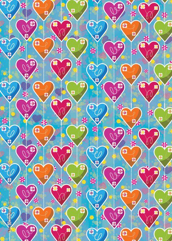 Papel regalo cortina corazones