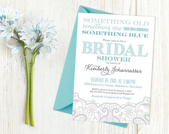 Printable lace bridal shower invitation with the theme Something Old, Something New, Something Borrowed, Something Blue. www.theinkedleaf.etsy.com
