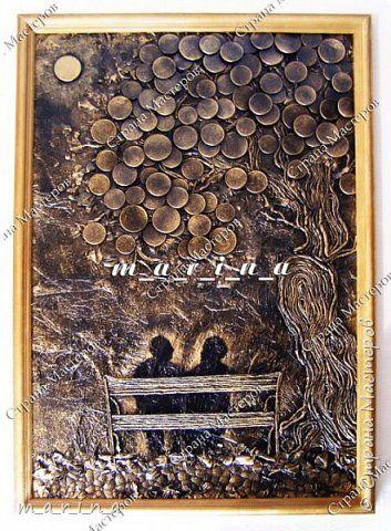 Картина панно рисунок Мастер-класс День рождения Аппликация из скрученных жгутиков Ассамбляж Подарок на юбилей повторюшка-мини МК Картон Клей Краска Листья Монета Салфетки Скорлупа яичная фото 1