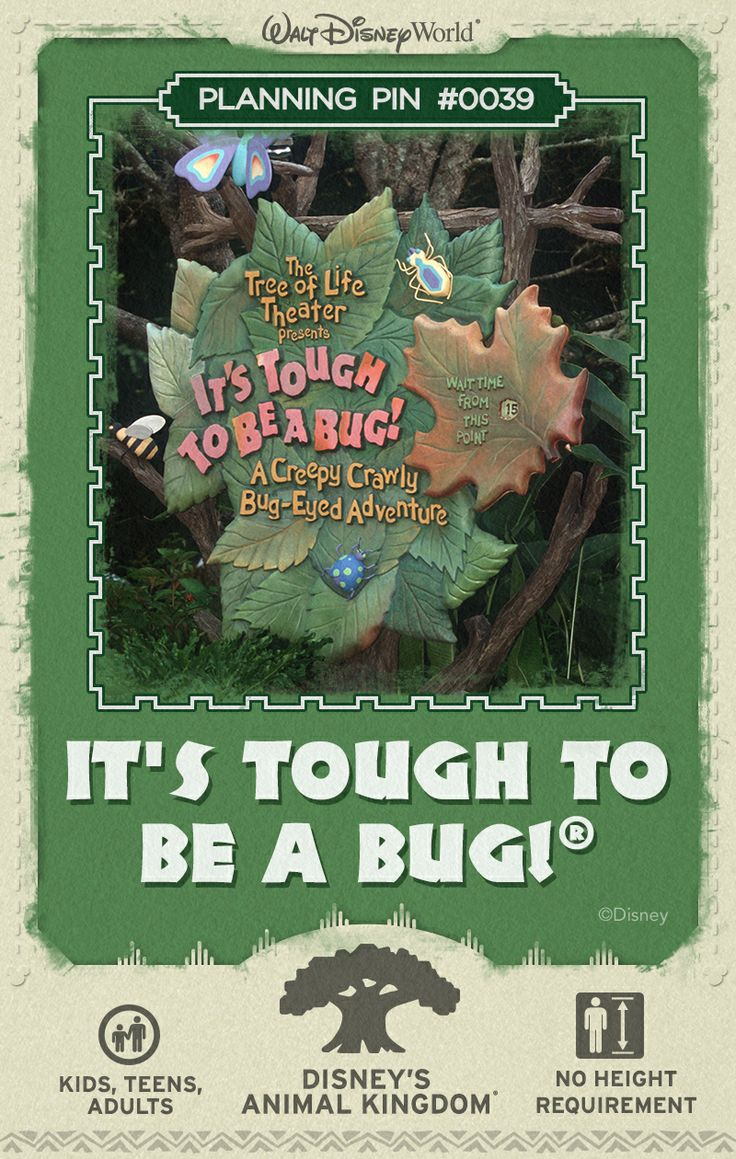 Walt Disney World Planning Pins: Discover what it's like to be a bug during this 3D film and live show inspired by the Disney•Pixar film, A Bug's Life.
