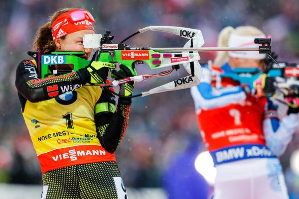 Laura Dahlmeier of Germany takes 2nd place during the IBU Biathlon World Cup Men's and Women's Mass Start on December 18, 2016 in Nove Mesto na Morave, Czech Republic.