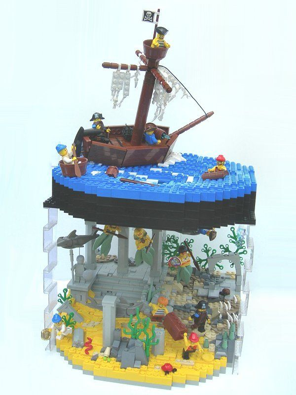 lego ocean scene - very creative use of transparent blocks. Adding a towering wave would be even more awesome :)