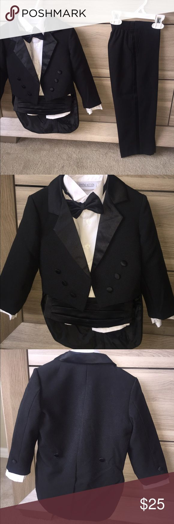 Baby Boys' Black Classic Tuxedo with Tail This traditional boys tuxedo suit is perfect for Weddings, Church, Baptism, and any Special Occasions. It's a complete set consists of tuxedo, shirt, bow tie, cummerbund and pants. Other