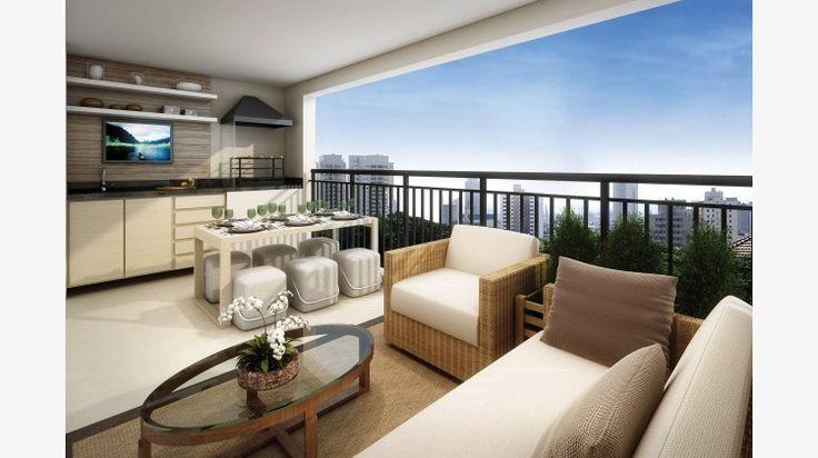 Terraço do apto de 122 m² c/ churrasqueira e pia.