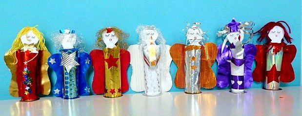 Weihnachten alt/basteln-Weihnachten-Engel-in-Reihe
