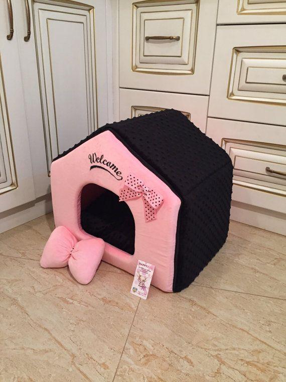 Black and pink designer dog house Princess dog bed от AnnaHappydog
