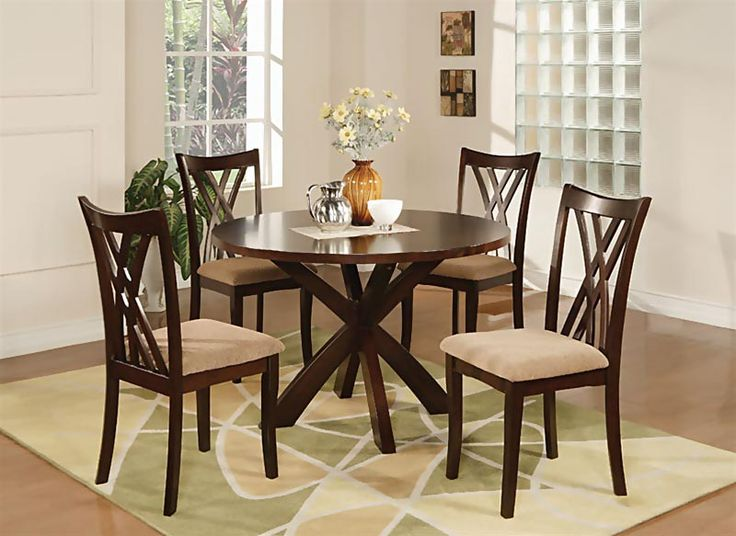 The Ruby Casual Dining Room Set By Coaster Features A Rich Espresso Finish Clean Lines And Updated X Back Upholstered Chairs