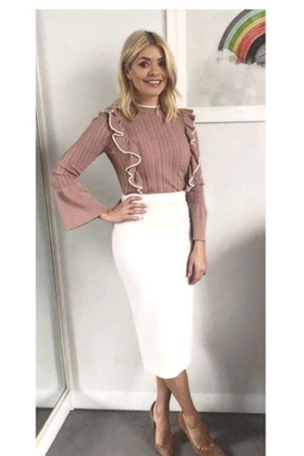 Holly Willoughby outfit: This Morning star recycles old Roland Mouret designer skirt and teams it up with BARGAIN 7 top