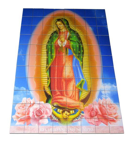 Big size tile mural dedicated to the Virgin of Guadalupe CUSTOMIZABLE with a phrase (any phrase you want)  Suitable for indoor and outdoor https://www.etsy.com/it/listing/451244006/big-size-customizable-tile-mural-mosaic