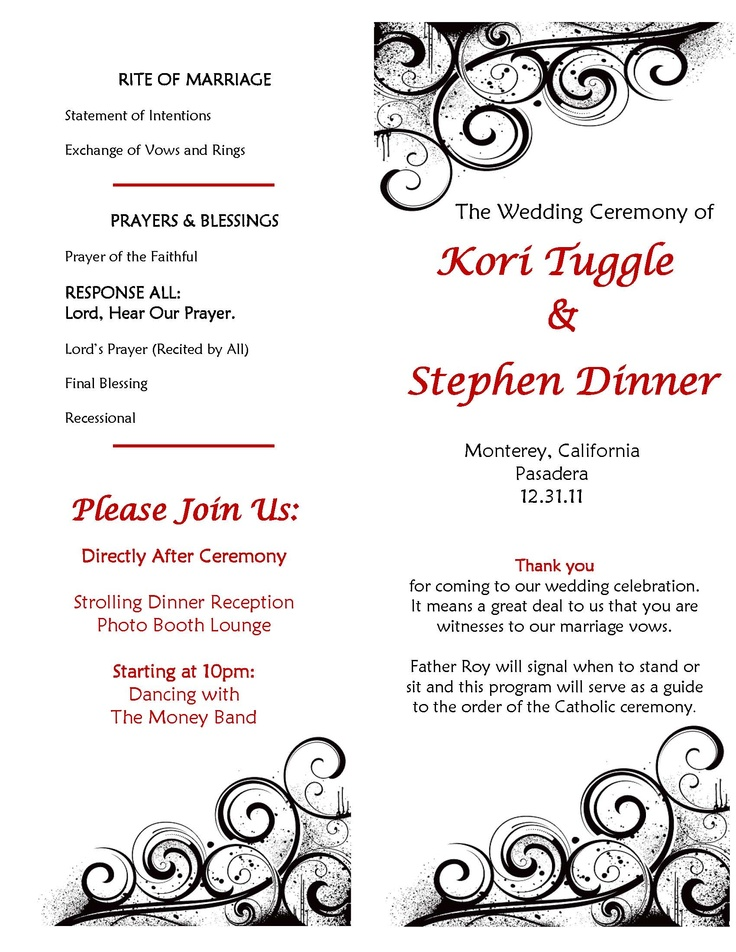 Catholic Wedding Ceremony Program Sample Make Your Own DIY So Easy Just Have