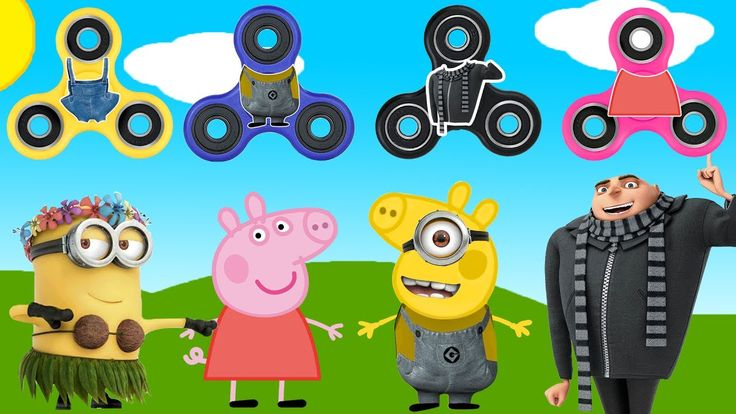 Despicable Me 3 FIDGET SPINNERS Peppa Pig Baby Learn colors Finger Famil...