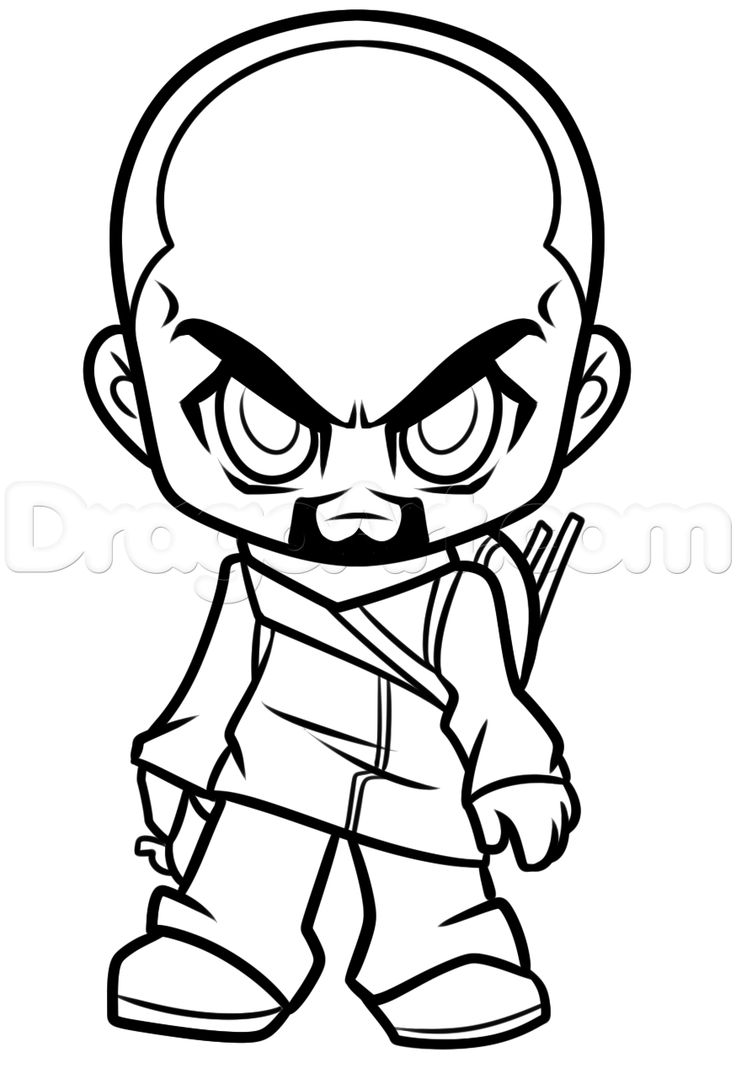 How To Draw Chibi Morgan From The Walking Dead Step By