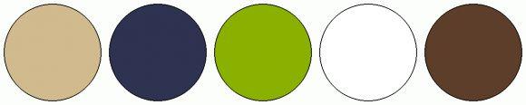 ColorCombo5969 - ColorCombos.com color palettes, color schemes, color combos with hex colors codes #D1BA8E, #2E3351, #8AB100, #FFFFFF, #5D3E2A and color combination tags BLUE, GREEN YELLOW, LIMEADE, MARTINIQUE, ORANGE, ORANGE RED, QUINCY, TAN, WHITE.