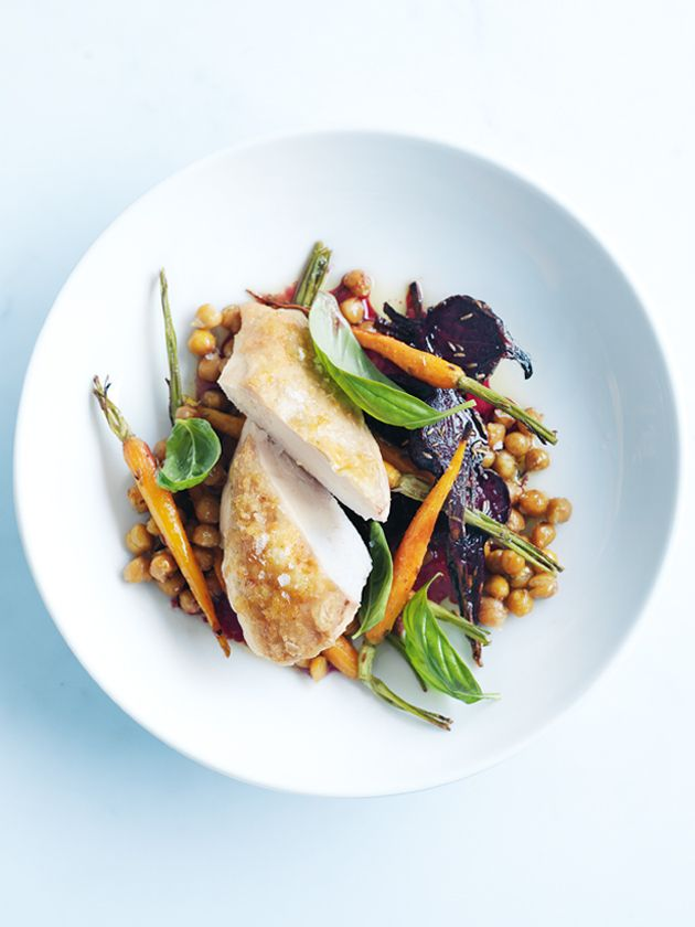 One-Dish Donna Hay | Honey-roasted chicken with chickpea and roast vegetable salad