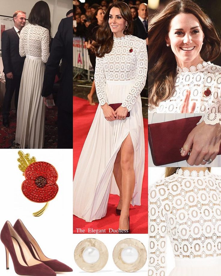 11/3/16 ♛ Premiere of 'A Street Cat Named Bob' in aid of Action ♥ WKW ♥ Self Portrait Pleated Crochet Maxi Dress ($640) ♥ Gianvito Rossi '105′ Suede Pumps in Bordeaux ($675) ♥ Mulberry 'Bayswater' Clutch in Cranberry ♥ Oscar de la Renta Hammered Gold Plated Faux Pearl Earrings ($190) ♥ Buckley London Crystal Poppy Brooch ($40) ♥