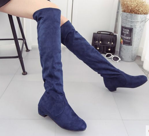 Womens Suede Low Heel Knee High Stretch Riding Boots Fashion Pull On Shoes A748