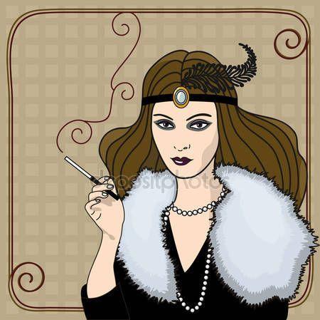 Pobieraj - Palenie kobieta w stylu retro — Ilustracja stockowa #11688963